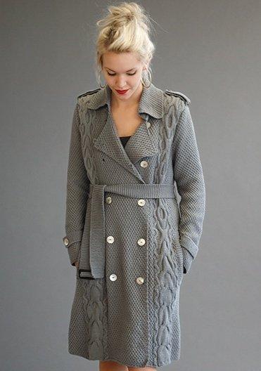 Эффектное пальто-тренч спицами от Ким Харгривз