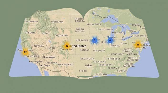 Места событий из литературных произведений на интерактивной карте мира