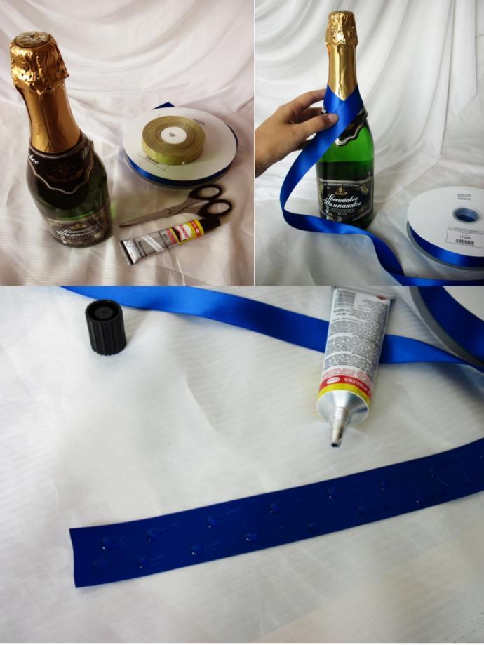 упаковка шампанского лентами