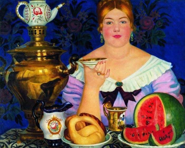 Б. Кустодиев. Купчиха, пьющая чай, 1923