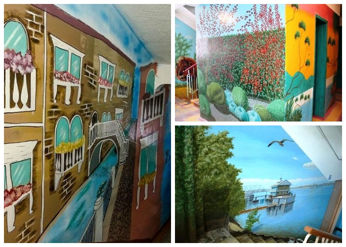Неравнодушные жильцы сами отремонтировали свой подъезд и превратили его в художественную галерею