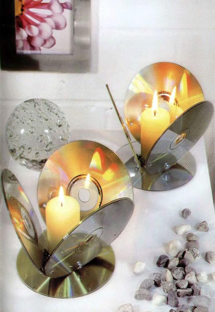 Делаем подсвечник из CD диска 0