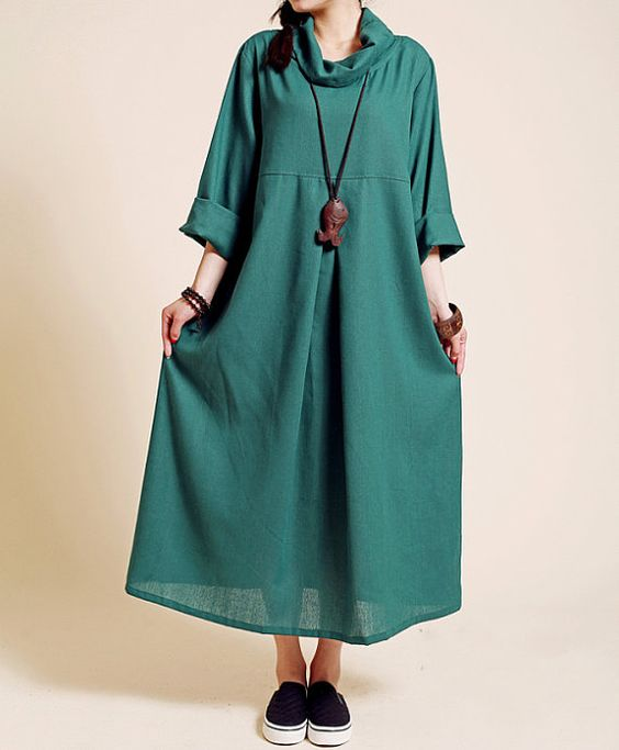 Linen Pile collar loose long sleeved long dress/ spring by MaLieb: