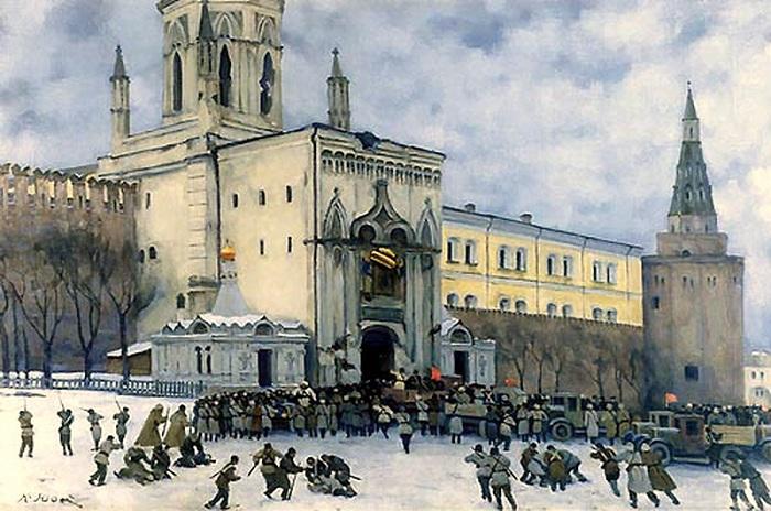 Штурм Кремля в 1917 году. Автор: Константин Юон.
