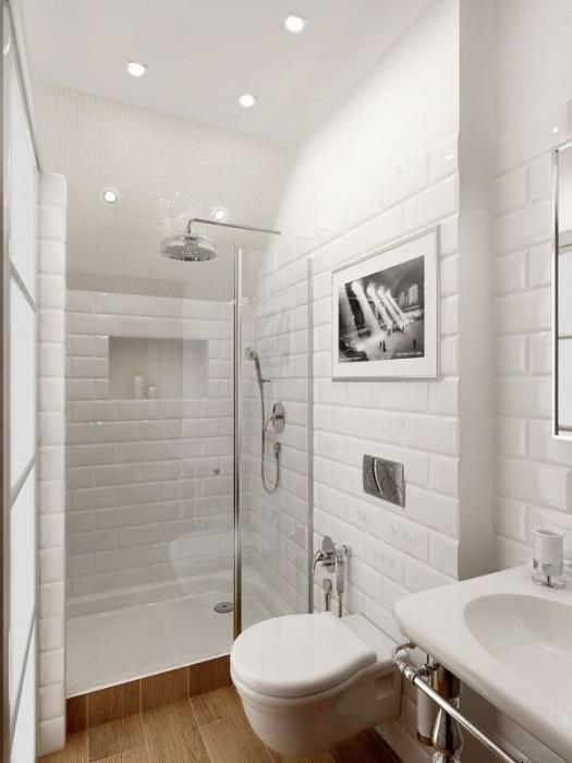 Светлый интерьер в маленькой ванной комнате позволит визуально увеличить пространство.