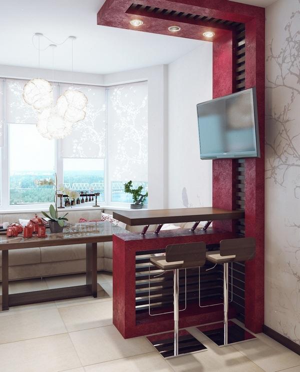 кухня на балконе в квартире студии стильная перегородка