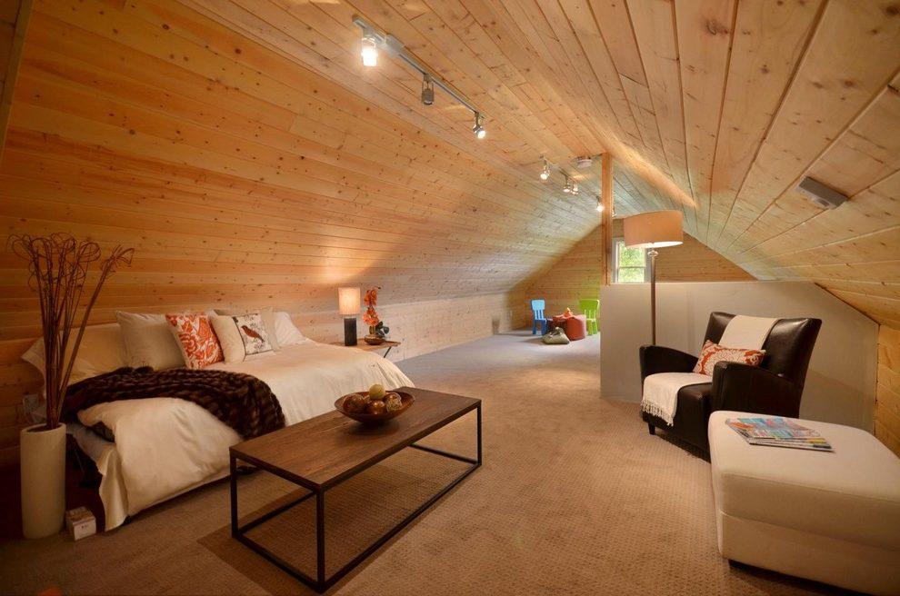 finished-attic-home-theater-eclectic-with-media-room-industrial-club-chairs