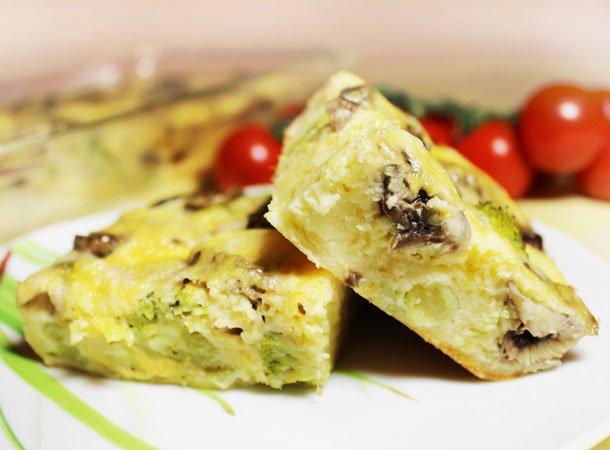 Запеканка из брокколи с грибами и сыром