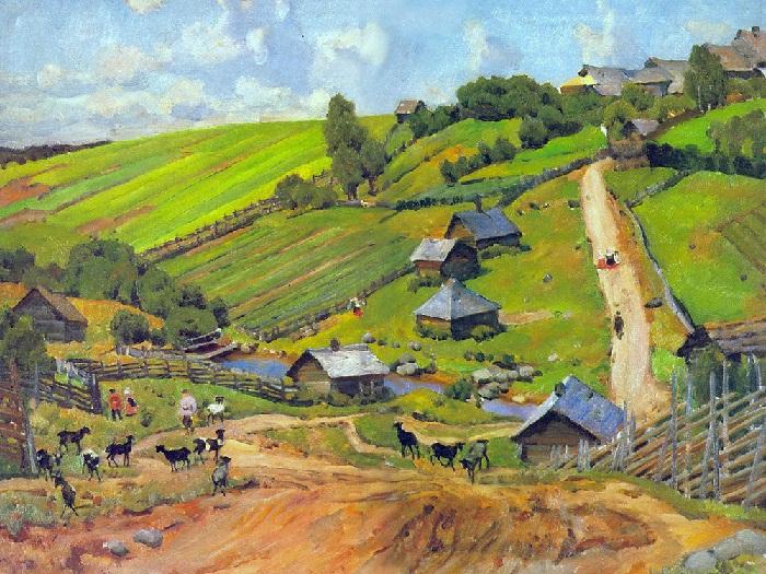 Деревня Новгородской губернии. (1912 год.) Автор: Константин Юон.