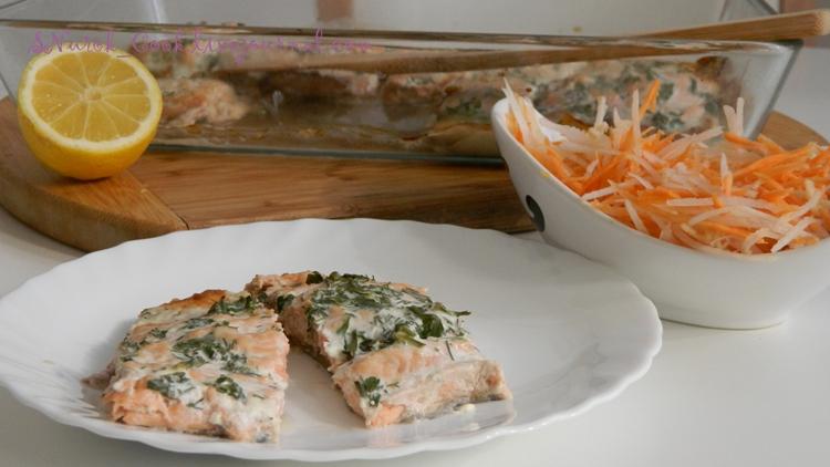 Горбуша запеченная со сметаной и зеленью рыбные блюда