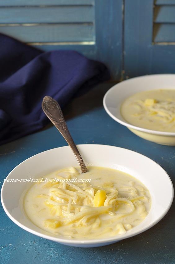 Молочный суп с лапшой (не сладкий). Сөтле токмач