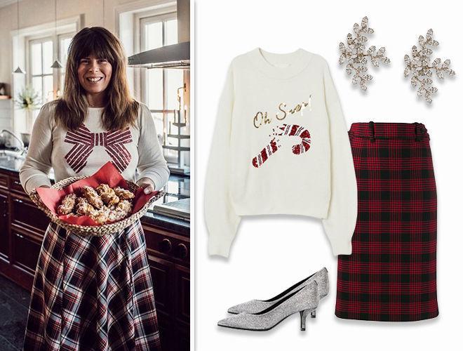 Новогодний свитер + юбка в клетку