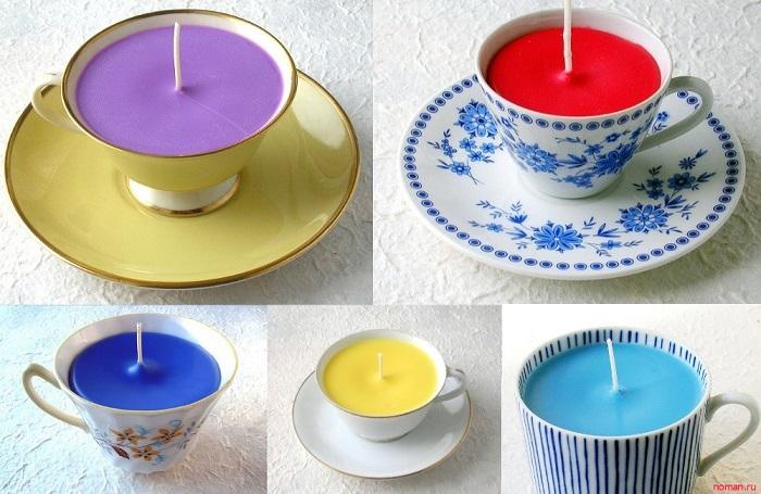 Оригинальные свечи в чашках для декора дома и на подарок. / Фото: noman.ru