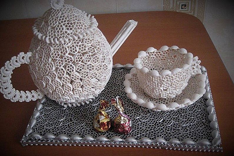 Чайник из макарон своими руками