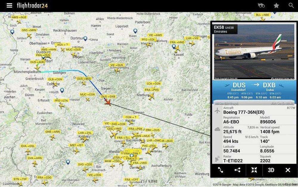 Как с помощью мобильных приложений отследить местоположение самолета