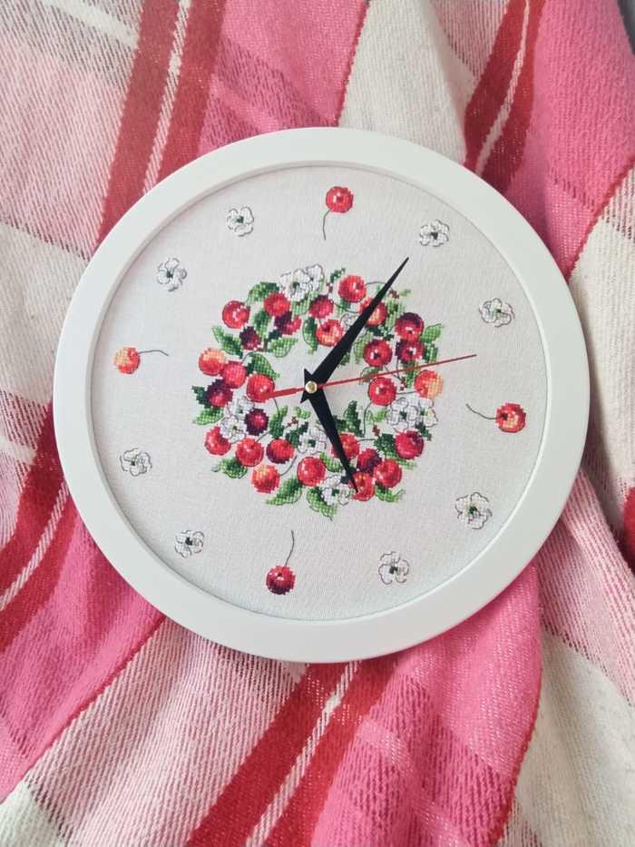Часы с вишенками вышивка,декор
