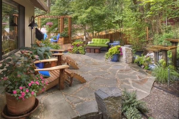 Дизайн проект двора частного дома с красивой зоной отдыха