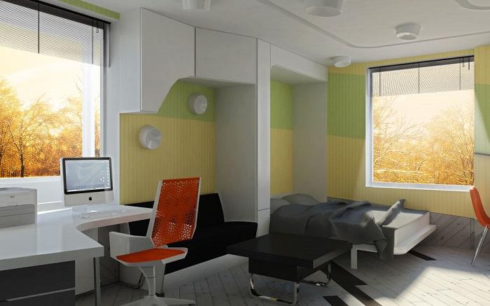 Выбирайте мебель из легких материалов, чтобы не перегружать пространство. / Фото: aranchii.com