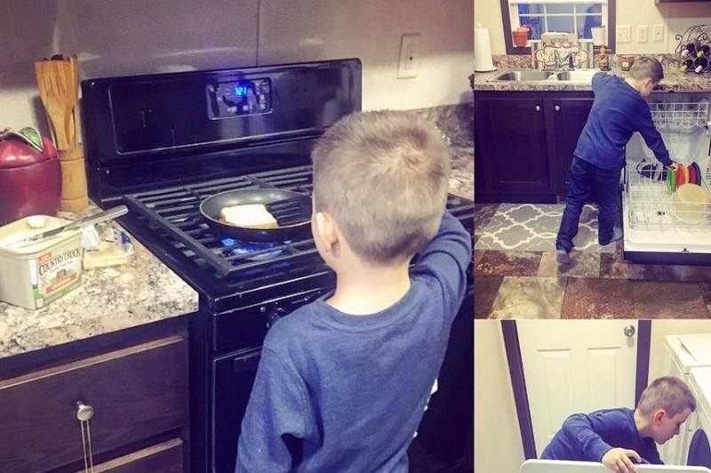 Мама приучила сына помогать ей по хозяйству, за что была раскритикована в соцсетях