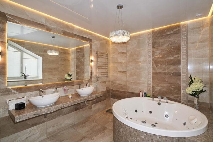 парящая конструкция в ванной комнате
