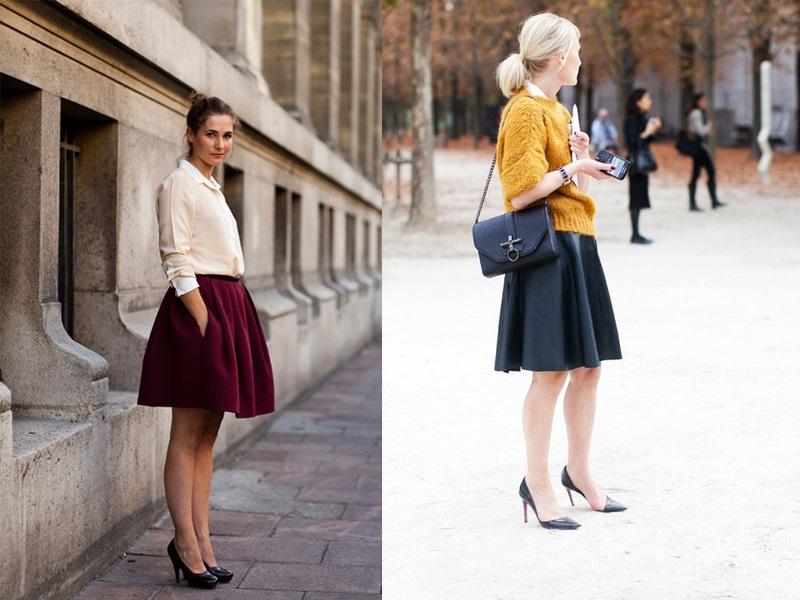 Девушки в пышных юбках и кардиганах