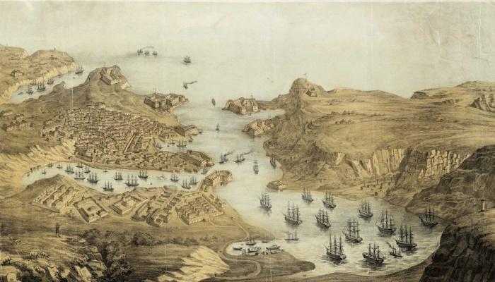 Севастополь. Город, крепость и гавань. Литография, 1850 год