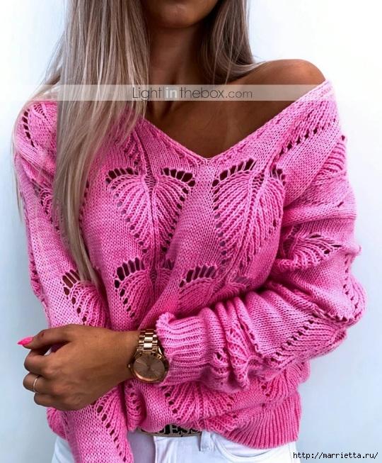 Пуловер спицами ажурным узором «Листик» - модный тренд сезона вязание,мастер-класс,мода,одежда