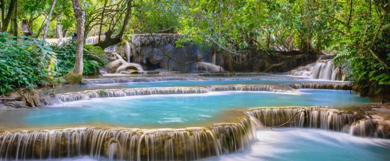 Водопад Тат Куанг Си в Лаосе авиатур