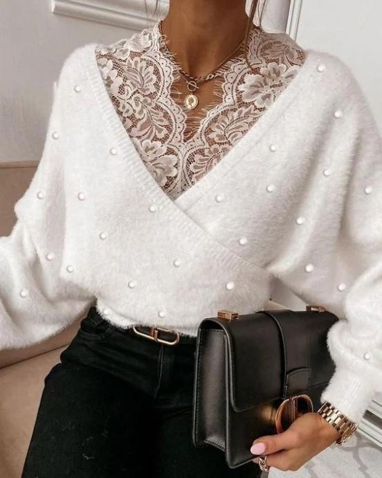 Кружевные варианты переделки и декора свитеров