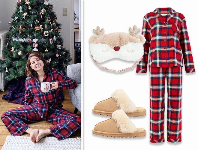 Клетчатая пижама домашний образ фото