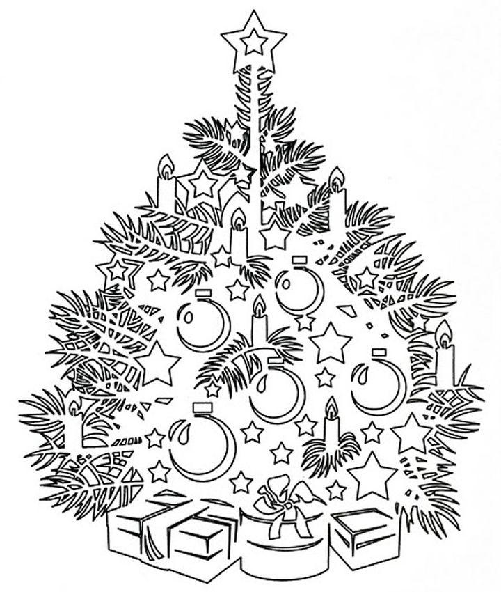 Вытынанка новогодняя ель