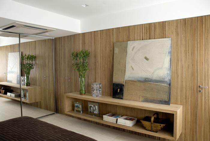 Аккуратная панельная конструкция из бамбука будет хорошо смотреться в любом интерьере.