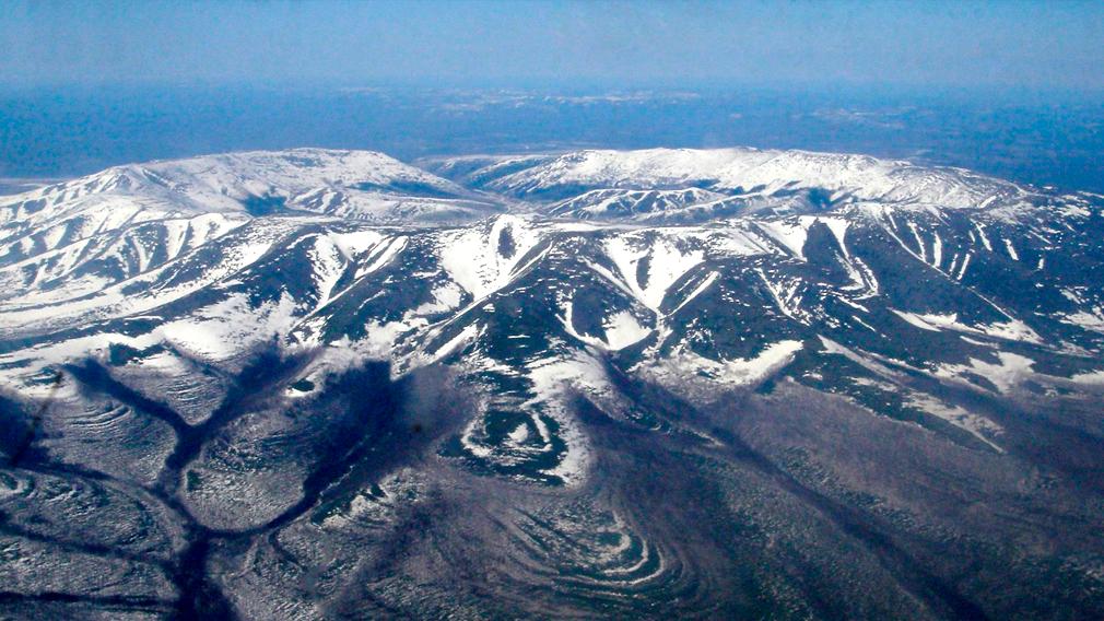 Массив Кондёр зимой - вид с вертолёта
