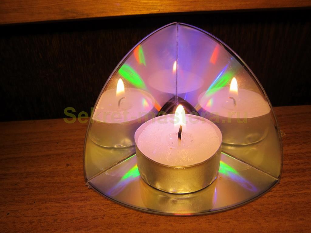 Делаем подсвечник из CD диска 3