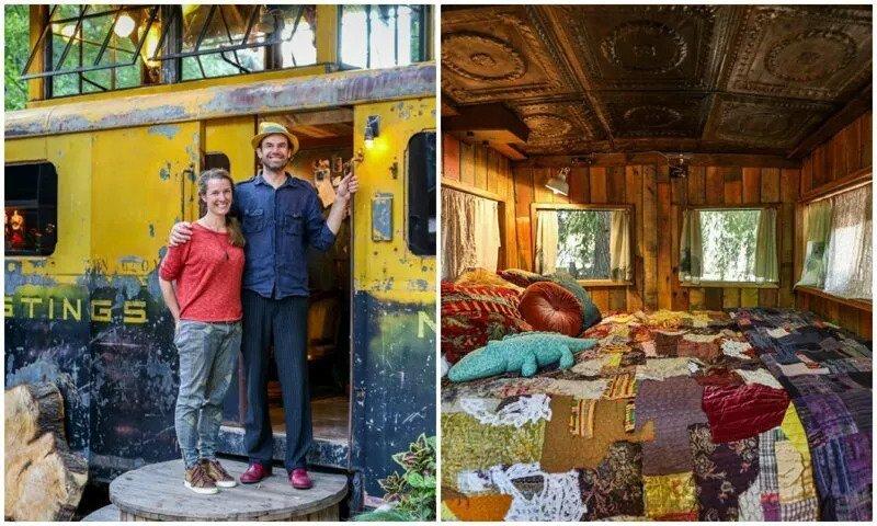 Как превратить винтажный вагон поезда в стильное и комфортабельное жилье идеи для дома,интерьер и дизайн