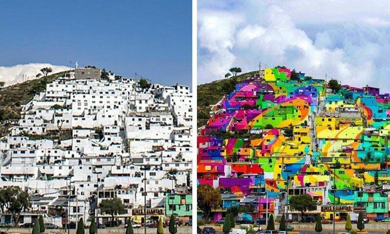 13. Как граффити может изменить пейзаж. Пачука-де-Сото, Мексика было стало, в мире, люди, подборка, сравнение, фото