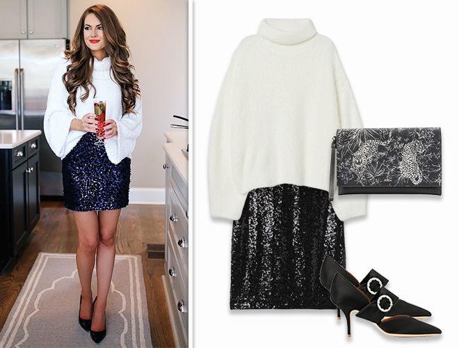 Объёмны свитер и юбка с паетками фото