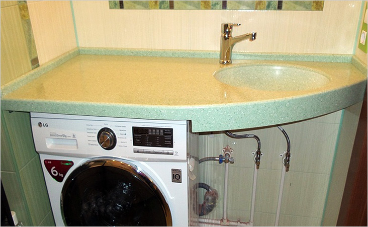 Раковина в виде столешницы над стиральной машиной