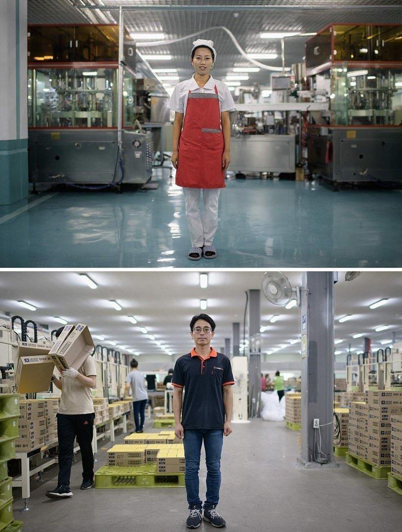 Вверху — Работница фабрики по производству стоматологического оборудования, Северная Корея, внизу — работник завода упаковочных материалов кндр, люди, северная корея, сравнение, страны, южная корея