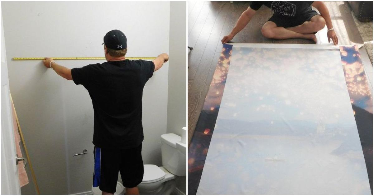 Из занавески для душа мужчина сделал отличное украшение для ванной комнаты