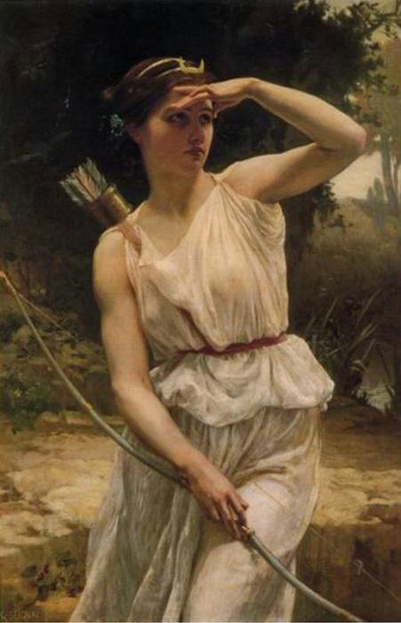 Покровительница животных Артемида не интересовалась человеческими делами. Картина Гийом Сеньяка.