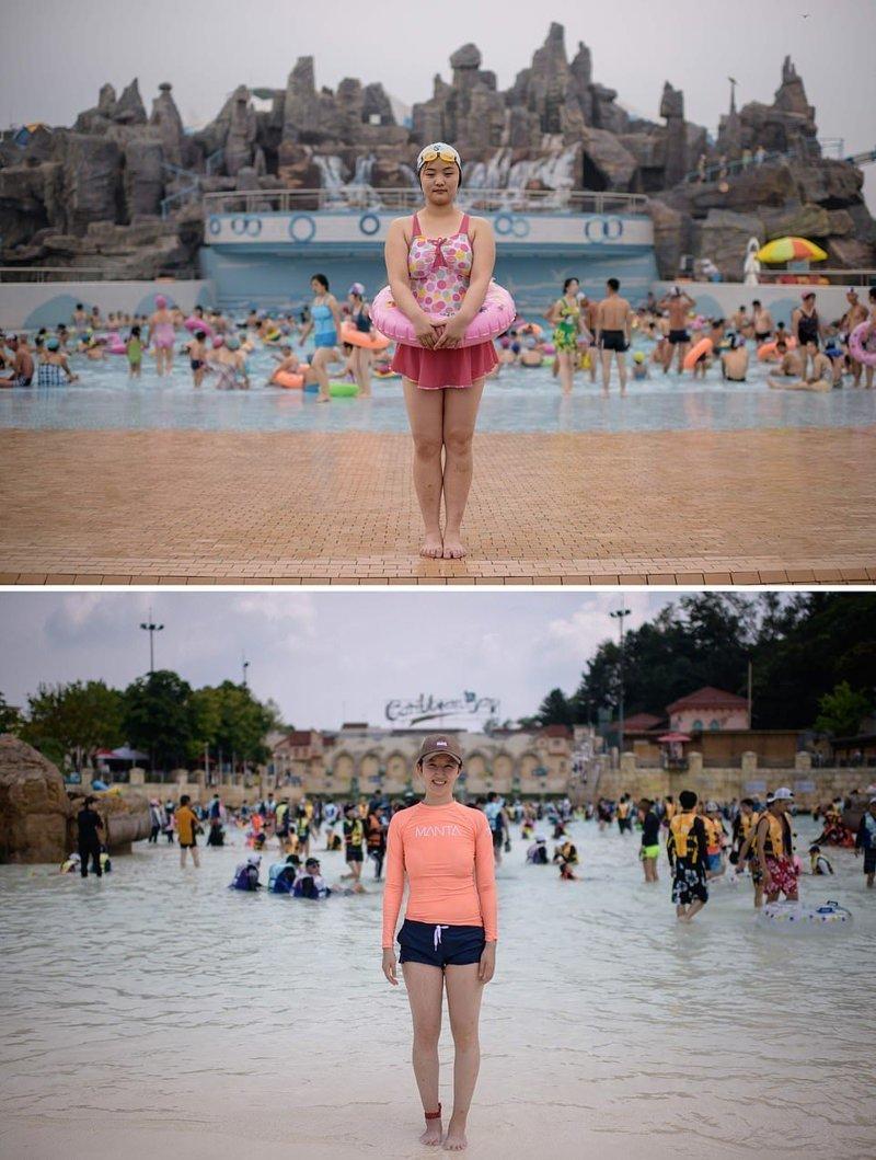 21-летняя Ри Сонг (сверху) позирует в водном парке Мансу в Пхеньяне. Внизу фотография 30-летней Квон Йе в водном парке Carribean Bay в Сеуле кндр, люди, северная корея, сравнение, страны, южная корея
