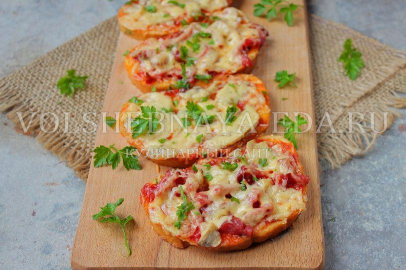 Мини-пицца на батоне в духовке