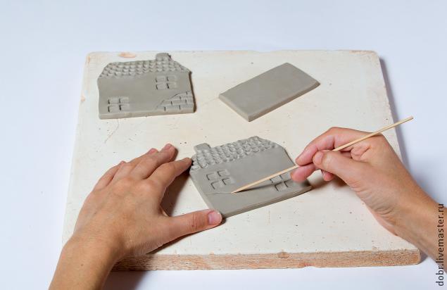 Создание керамической салфетницы Старый домик мастер-класс,стекло и керамика
