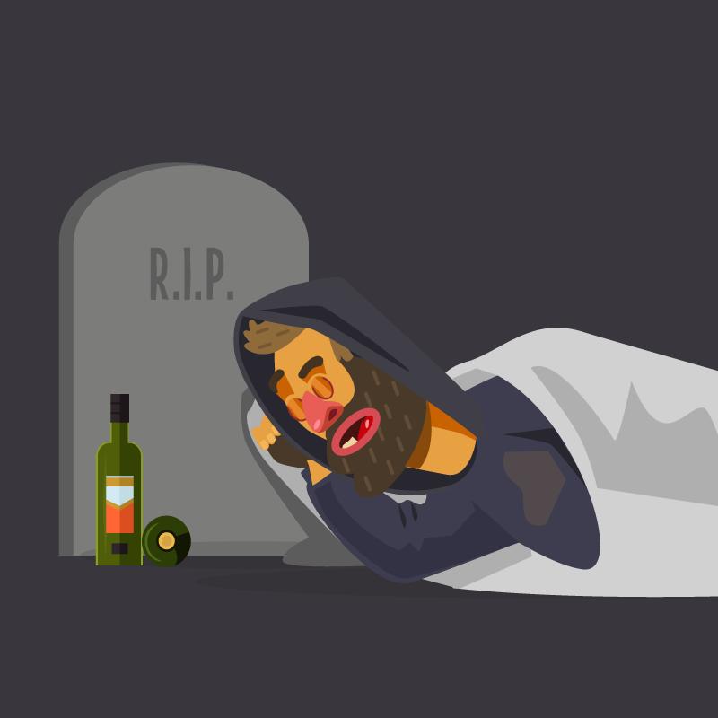 Анекдот про пьянчугу, который проснулся накладбище