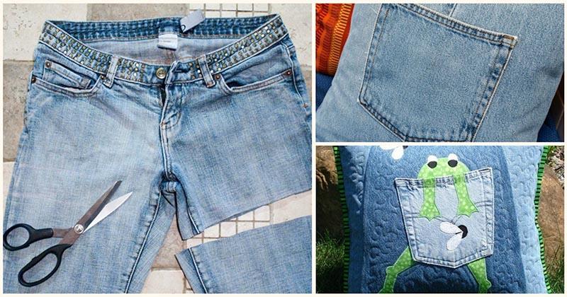 Никуда не годные старые джинсы послужат отличным материалом для декора