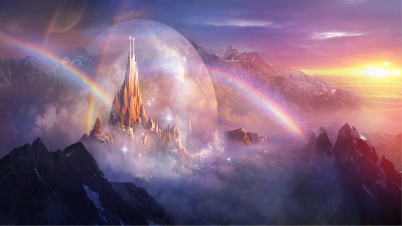 7Landschaften-Schlösser-fantasy-art-Regenbögen