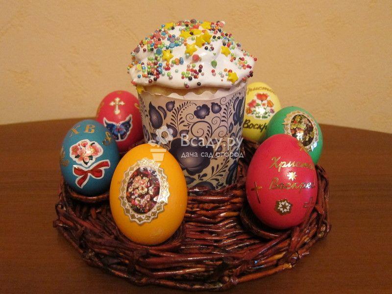 Плетеная подставка на Пасху для кулича и яиц