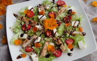 Салат с курицей-гриль и клубникой