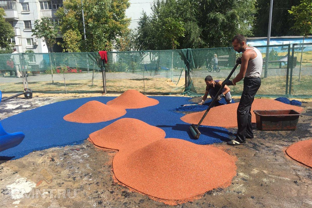 резиновые покрытия для детских площадок технология укладки
